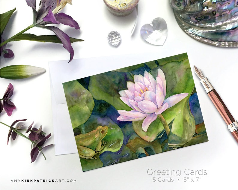 PRINCE of PEACE POND Greeting Cards Frog and Water Lily image 0