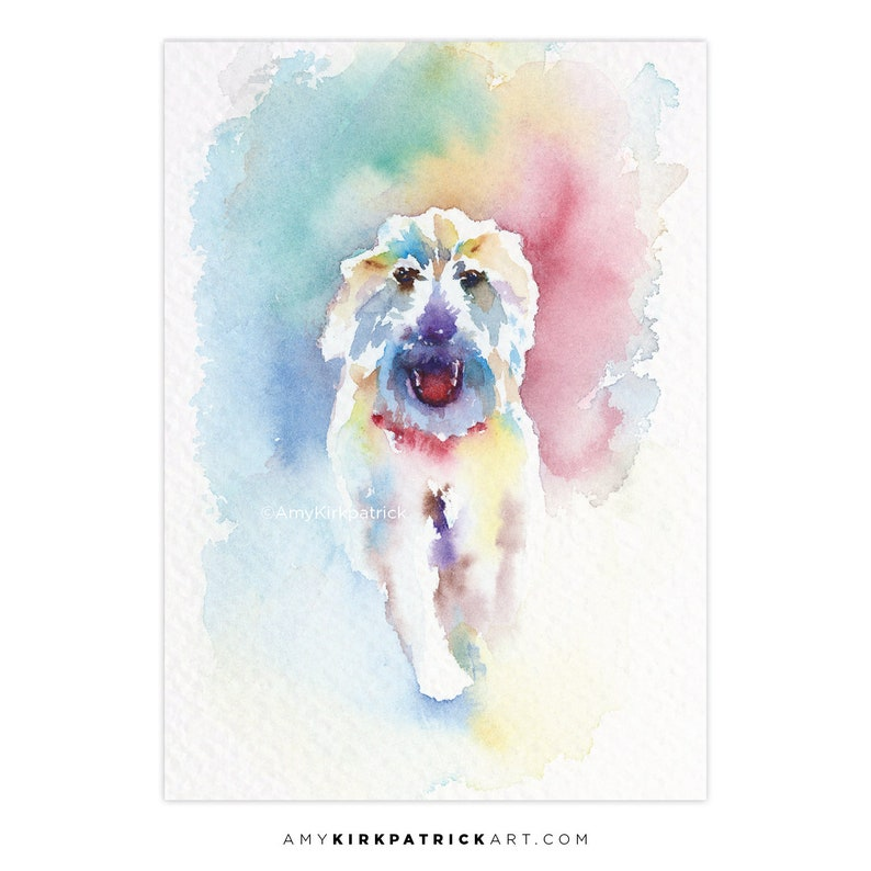 RUNNING DOG ACEO Print of Watercolor Painting White Shaggy image 0