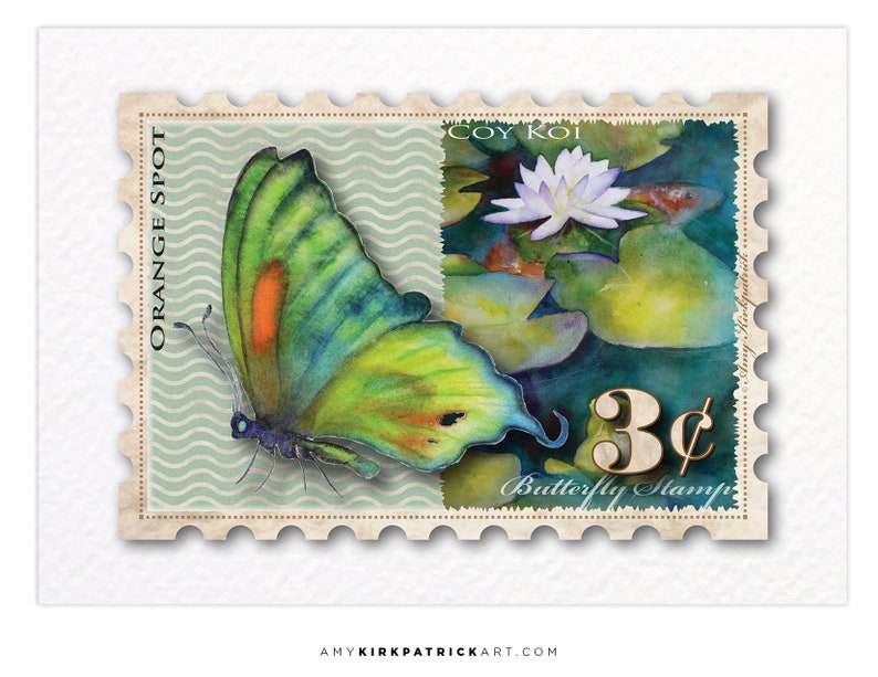BUTTERFLY 3 Cent Stamp ACEO Print of Watercolor Painting image 0