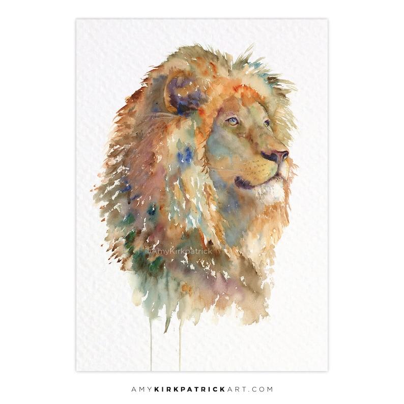 IZU ACEO Print of Watercolor Painting Male Lion Portrait image 0