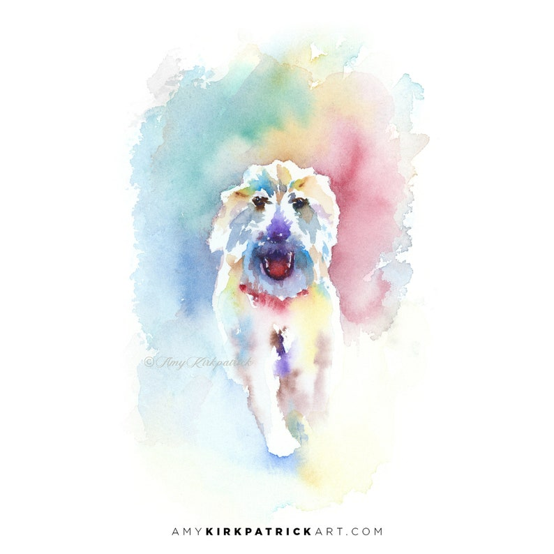 RUNNING DOG White Shaggy Dog Watercolor Painting Signed Art image 0