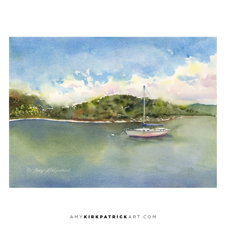 ISLAND MOORING Watercolor Painting  Signed Art Prints Original Painting
