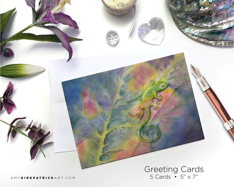 CHAMELEON Greeting Cards Chameleon Watercolor Painting Note image 0