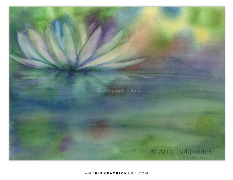 WATER LILY ACEO Print of Watercolor Painting Collectible image 0
