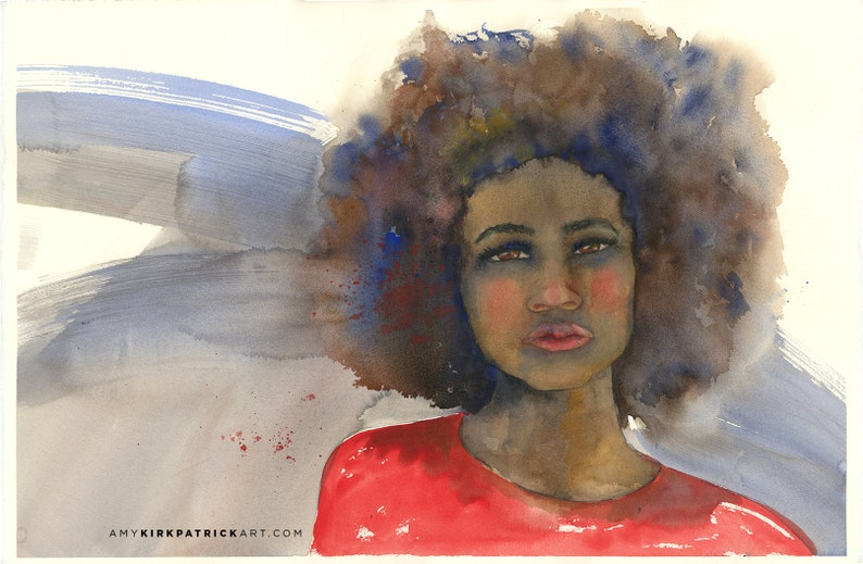 HEAR ME ROAR 15x22 Original Watercolor Painting by Amy image 0