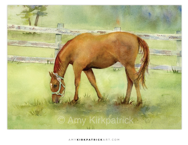 MISTY MORNING Horse ACEO Print of Watercolor Painting image 0