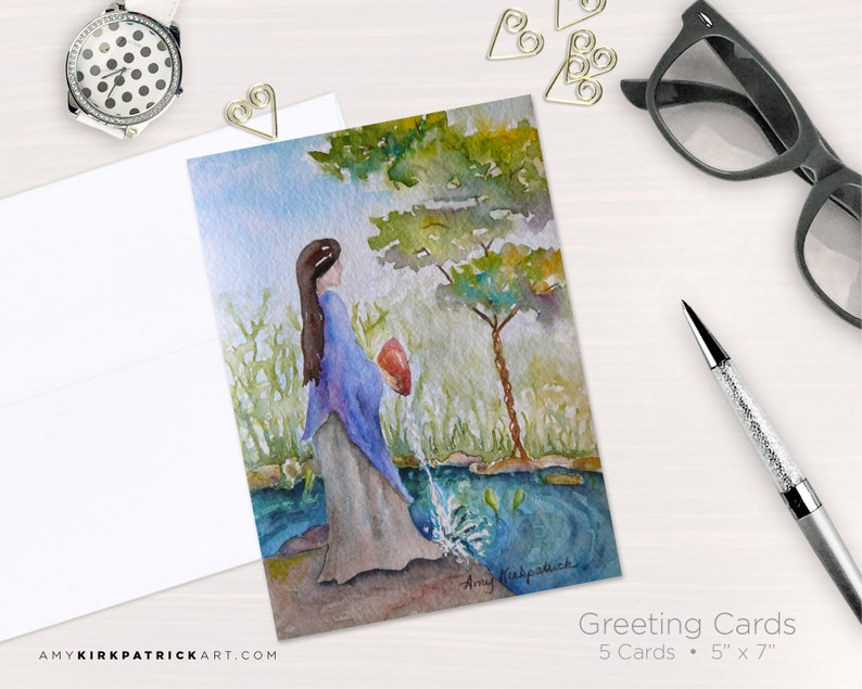 LADY by the STREAM Greeting Cards Native American Watercolor image 0