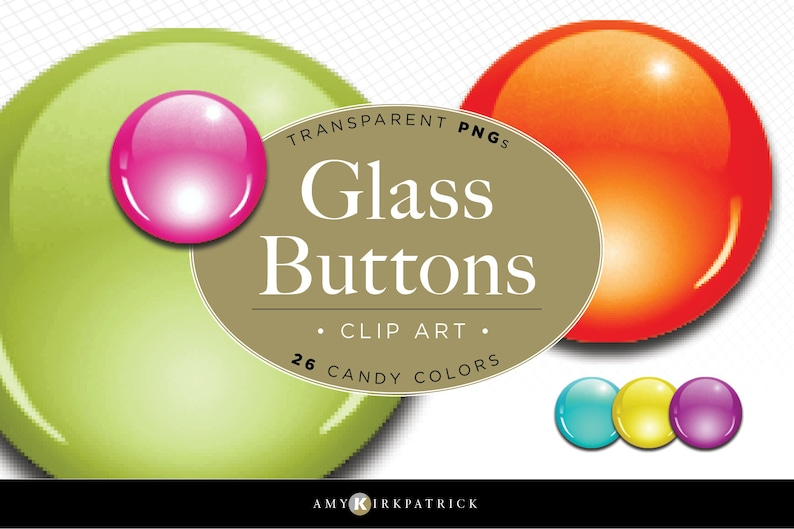 Glass Buttons  Clip Art  26 Colors Transparent backgrounds image 0
