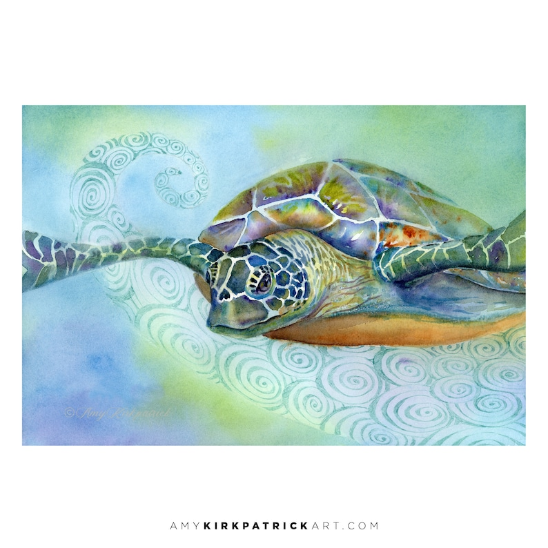 FLY BY Watercolor Painting Sea Turtle Painting   Signed Art Original