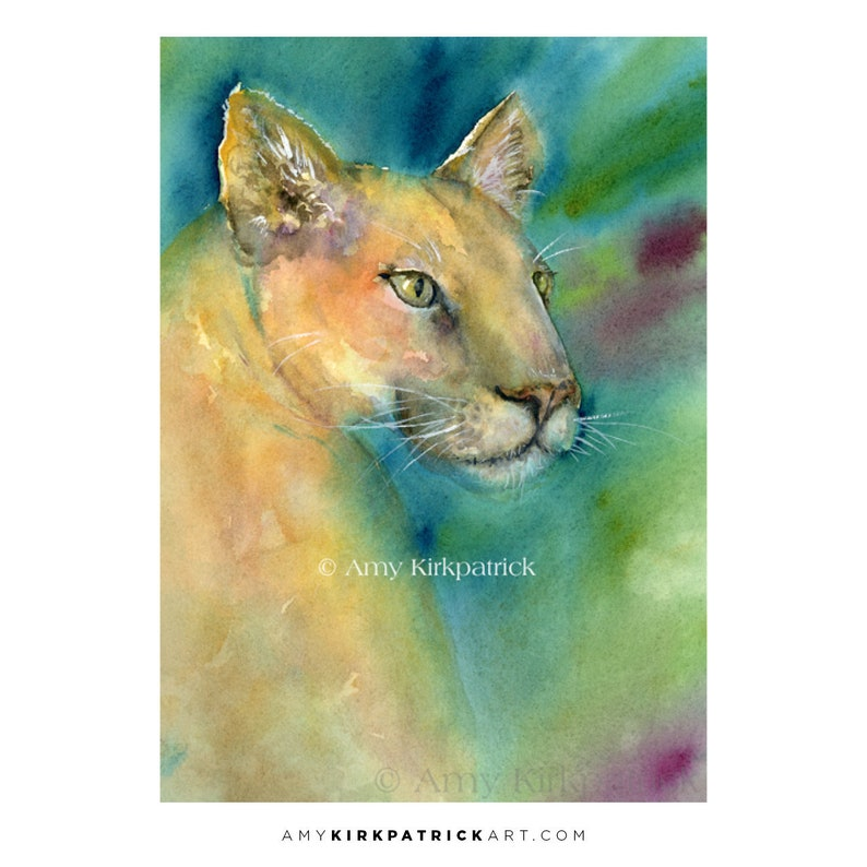 COUGAR ACEO Print of Watercolor Painting Wildlife Cat image 0