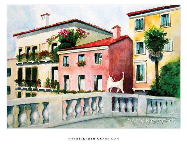 OFF To WORK ACEO Print of Watercolor Painting Italian White image 0