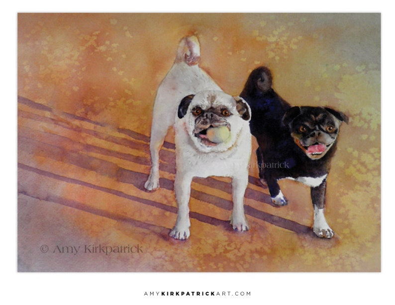 PLAYTIME ACEO Print of Dog Watercolor Painting Pugs on the image 0