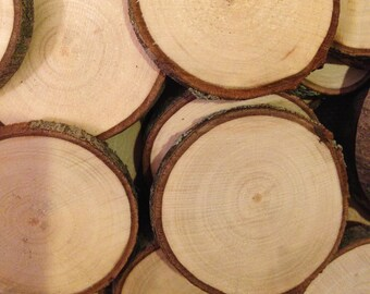 """Wood slices 25 - 2.5""""  to 3"""" rustic wood slices"""