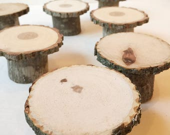 10 cupcake wood stands -  mini rustic cake stands for dessert station/buffet or individual place settings