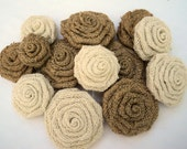 Set of 10 Burlap Flowers Assorted Sizes 10 Burlap Roses Natural and Ivory Burlap Wedding Decor Rustic Home Decorations