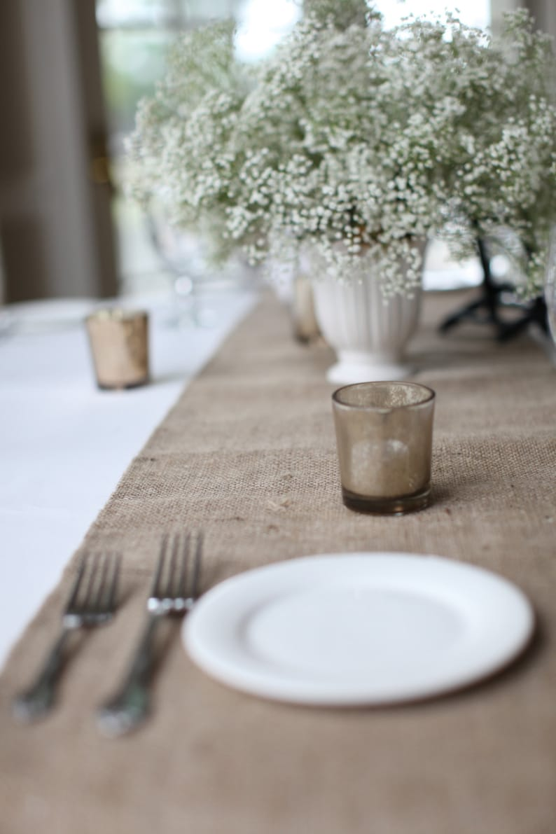Burlap Table Runner Hemmed Handmade Simple and Chic Table image 0