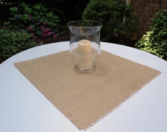 """Natural or Colored Burlap Table Squares 18"""" x 18"""" Table Overlays Wedding Centerpieces Shower Decorations Reception Decor Rustic Chic Decor"""