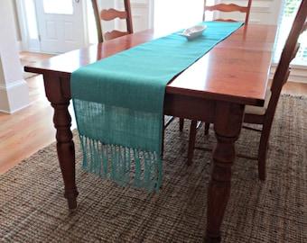 Teal Burlap Table Runner with Fringe Light Aqua Burlap Table Runner Choose Your Width & Length Aqua Home Decor Beachy Table Runner Boho Chic