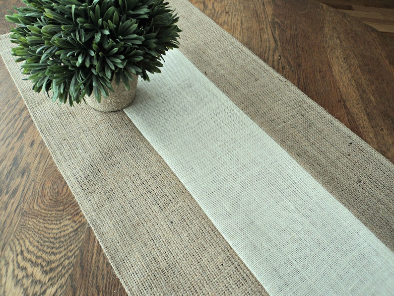 Burlap Table Runner Modern Rustic Home Decor Holiday Table image 0