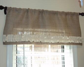 Burlap Valance Rustic Curtain Farmhouse Home Decor Country Curtains Cabin Decor Rustic Valance Curtains Burlap Curtain