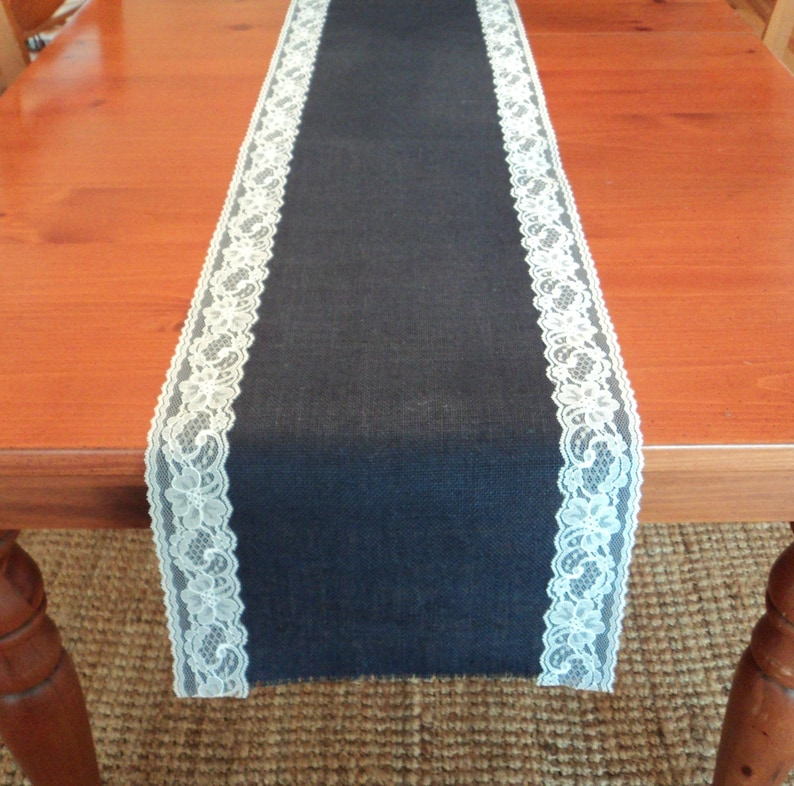 50cad16c3a8 Blue Burlap Table Runner with Lace Navy Blue Burlap Table