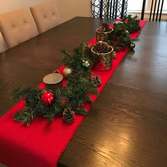 Red Burlap Table Runner Christmas Table Runner Rustic Christmas Decoration Custom Sizes Available