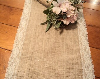 Burlap Table Runner with Lace Choose White or Ivory Lace Rustic Wedding Decor Bridal Shower Decorations Table Runners for Wedding