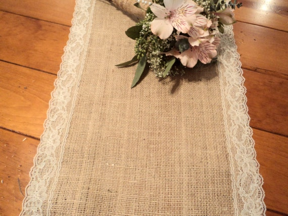 Charmant Burlap Table Runner With Lace Choose White Or Ivory Lace | Etsy