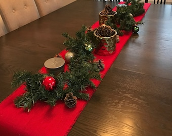"""Red Burlap Table Runner 14"""" Wide Christmas Table Runner Rustic Table Settings Choose Your Length"""