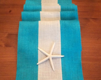 Aqua Burlap Table Runner or Choose Your Color Modern Rustic Table Setting Coastal Style Decorating