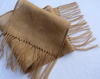 "Natural Burlap Table Runner with Fringe 16"" or 18"" Wide Many Lengths Available or Custom Sizes Rustic Chic Home Decor"