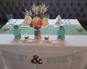 "Mint Table Runner 14"" Wide Burlap Table Runner Beachy Home Decor Mint Wedding Decorations Coastal Chic Home Decor"