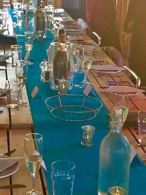Turquoise Burlap Table Runner Rustic Wedding Decorations Aqua Etsy