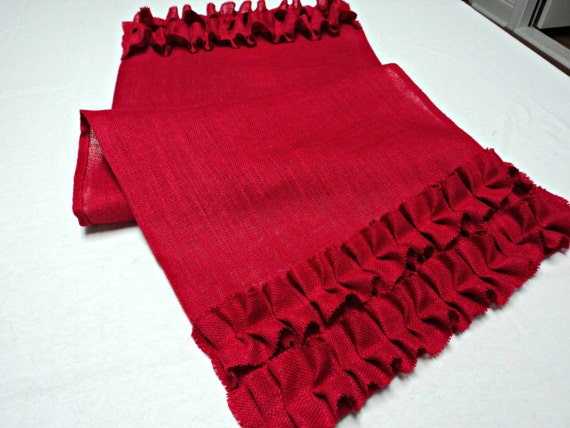 Red Table Runner With Ruffles French Country Burlap Table