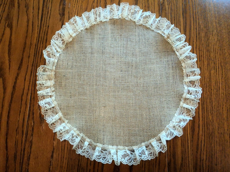 Burlap And Lace Table Centerpiece Burlap Placemat Round Table Etsy