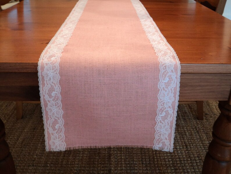 2ab805e10cb Blush Pink Burlap and Lace Table Runner Baby Girl Shower