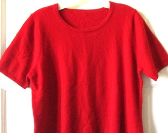 Short Sleeve Red Cashmere Sweater L