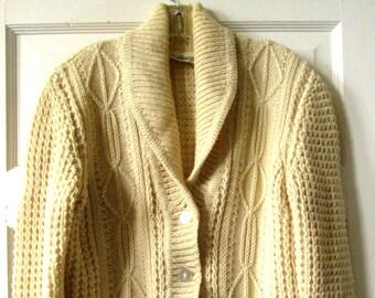 Gaeltarra Ivory Wool Aran Cardigan Sweater 40
