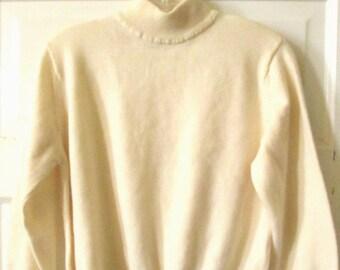 Ivory Mock Turtleneck Sweater L Petite