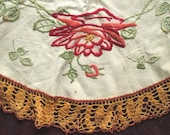 Small Hand Embroidered Table Cloth, Centerpiece, Doily, Roses