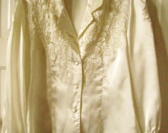 Silk Dynasty  Hand Embroidered Silk Blouse M