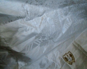 Large White Damask Linen Tablecloth, New Old Stock, Made in Ireland