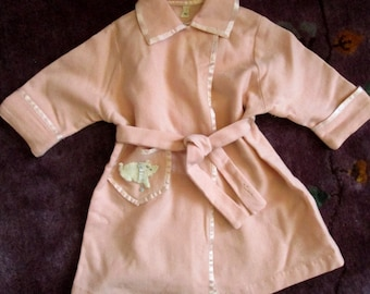 Vintage Child's Pink Wool Robe with Kitty