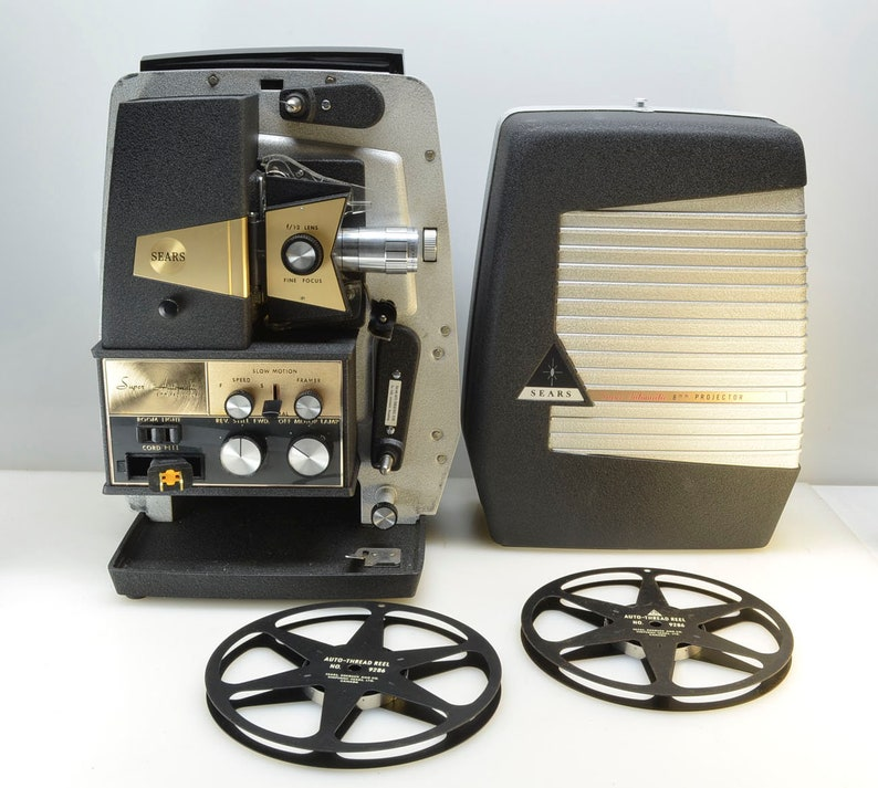 Tower Regular 8mm Film Projector, Variable Speed, Still-Frame, Mid-Century,  All Steel Construction, Two Take-Up Reels, In Original Box