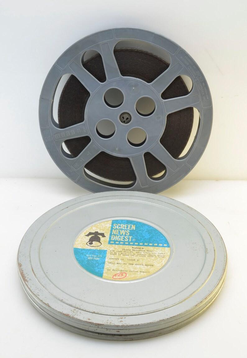 Theater Room Vintage l Decorative Movie Room 16mm Film: This Way to The White House 10.5 Metal Reel and Film Can Election Accent