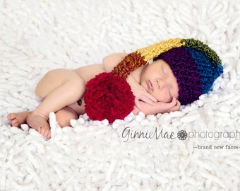 da6c2af2b56449 Rainbow Baby hat Stocking Cap Long Tail Elf striped hat baby cap Newborn  photography prop w pom-pom (also available in 1-3mos, 3-6mos)