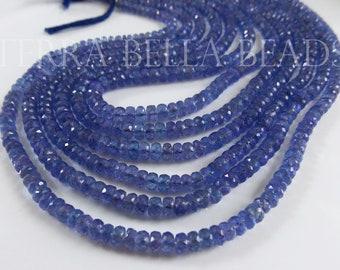 16 Inches Strand Natural Tanzanite Rondelles 3mm to 6mm Rare Beads Faceted Gemstone Beads AA Tanzanite Beads Semi Precious Stone No824