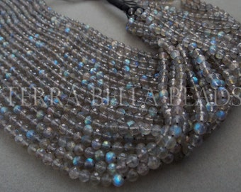 """13"""" strand AAA LABRADORITE faceted gem stone round beads 3.5mm - 4mm blue green gold flash"""