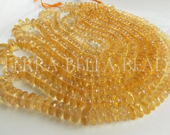 """7"""" strand AAA golden CITRINE faceted large gem stone rondelle beads 5mm - 7mm yellow"""