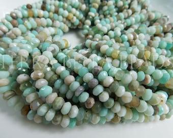 "13"" natural aqua blue PERUVIAN OPAL faceted gem stone rondelle beads 5mm 5.2mm"